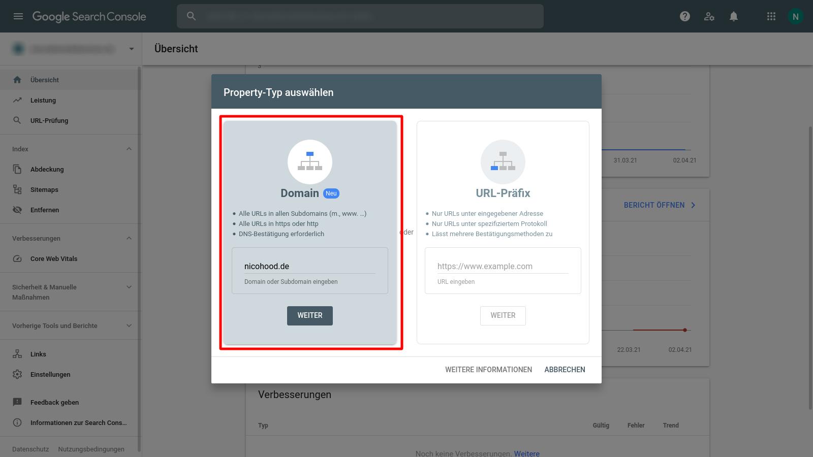 Google Search Console add new Domain Property
