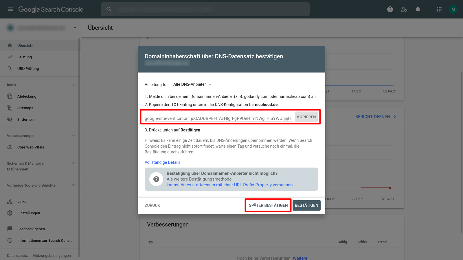 Google Search Console Copy Site Verification Code