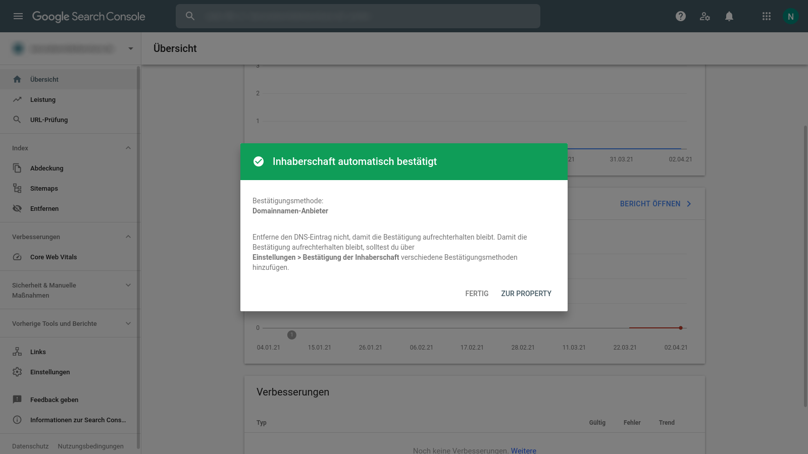 Google Search Console site Verification Sucessfully confirmed Property using TXT DNS Record