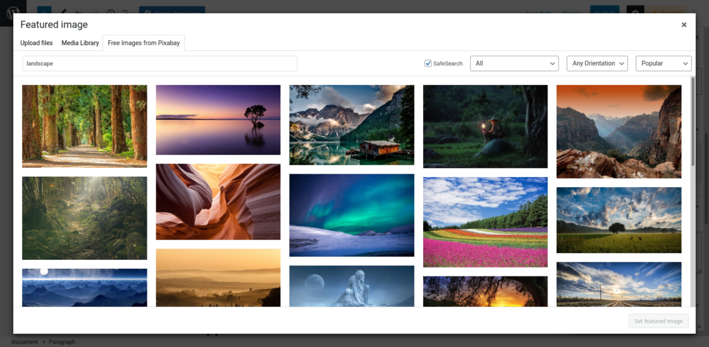 Astra Starter Templates Pixabay Integration
